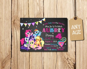 My Little Pony Invitation, My Little Pony Birthday Invitation, MLP My Little Pony Invitation Digital, thank you card,   PHOTO Invitation