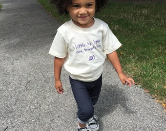 """Organic cotton toddler tee - """"little by little"""" - natural - unisex kids clothes - family travel - handmade - organic kid - gender neutral"""
