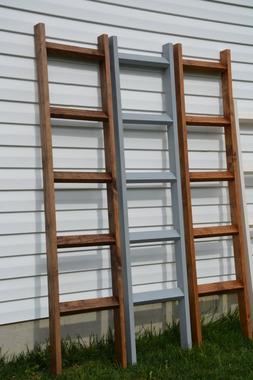 6ft blanket ladder rustic home decor quilt ladder by rusticvue for Decor ladder