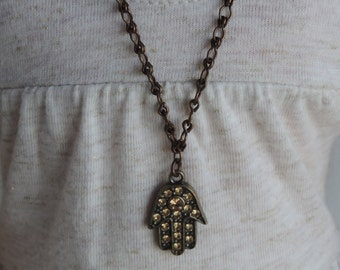 Brass Hamsa Hand Pendant Adjustable Necklace for American Girl Dolls and other 18 inch dolls