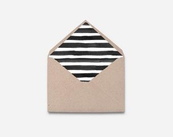 Black and White Stripe Envelope Liner, DIY (462)
