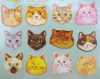 Beautiful Cat face stickers - kawaii stickers - Japanese stickers - cute stickers - cat emoticon faces - Japanese cat stickers - cat emoji