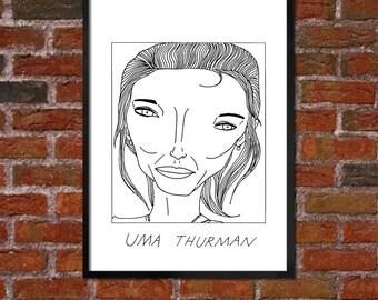 Badly Drawn Uma Thurman - Poster