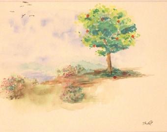 Apple Tree in Fall. Original watercolor (Jwc1)
