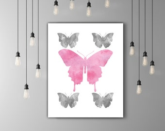 Grey Pink Watercolor Butterfly Nursery Prints Girls Room Decor, Wall Art For Girls Room, Pink Nursery Art, Kids Art Print, Pink Room Decor