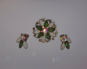 Vintage White and Green AB Rhinestone Brooch and Earring Set