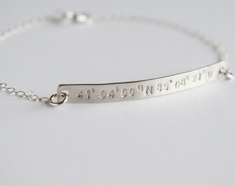 Coordinate Bracelet, Latitude Longitude Bracelet, Personalized Sterling Silver Bracelet, 14k Gold Filled,Bridesmaid Bracelet,Bridesmaid Gift