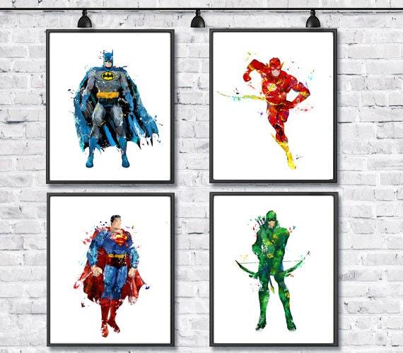 Superhero Watercolor Set Batman Superman Green Arrow