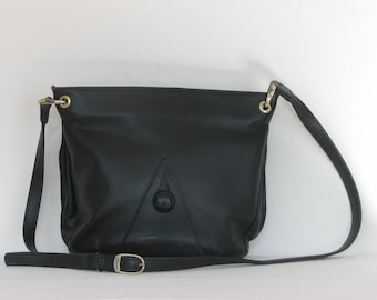 Handbag black leather Vintage 80