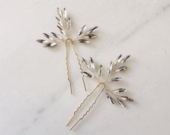 Set of 2 Branch Hair Pins Bridal Hair pins crystal hair pins wedding hair pins wedding headpiece branch hair pins bridal headpiece #161