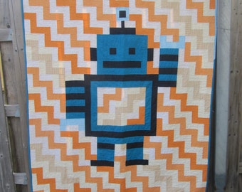 Quilts for sale - toddler quilt - baby boy quilt - homemade quilt - boy quilt - robot bedding - robot quilt - masculine quilt
