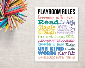 Playroom Rules Printable 11x14 | Playroom Decor | Playroom Sign | Playroom Wall Art | Playroom Poster | Playroom Print | Colorful Playroom