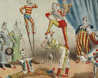 Vintage Circus Clowns Download to Print Vintage Digital Files Wall Art Gifts