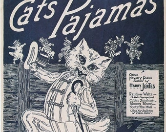 The Cats Pajamas Vintage Piano Sheet Music Digital Download Wall Art Instant Print it Frame it Gift it DIY Digital Prints Cat Lovers Unite
