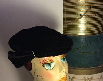 50% Off Sale Vintage Black Velvet Pillbox Hat with Rhinestones/1940s