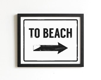 To Beach Print | Beach Sign | Coastal Wall Art