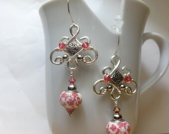 Pink Floral Drop Earrings with Arabesque Design