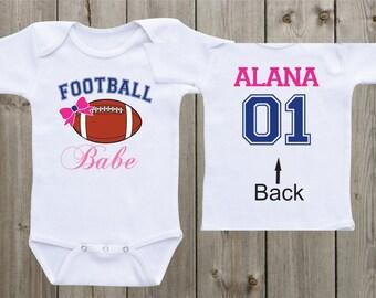 Football Babe Baby Girl Onesie Baby Girl Outfit Football Onesie Sports Onesie Custom Onesie Baby Girl Onesie Baby Shower Gift