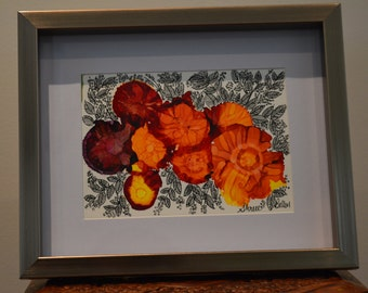 Beauty: Original Abstract Alcohol Ink Art with Intricate Pen Ink Art on Yupo