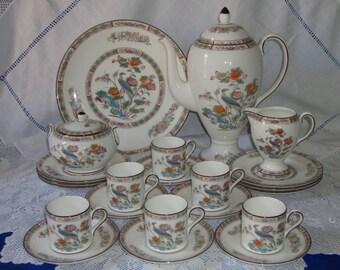 Exquisite WEDGWOOD Kutani Crane Coffee Set 22 pieces