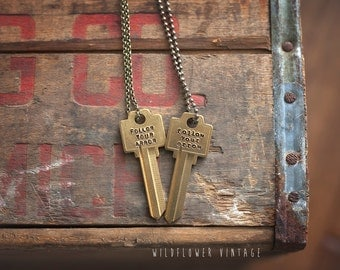 Follow Your Arrow Key Necklace | Hand Stamped Vintage