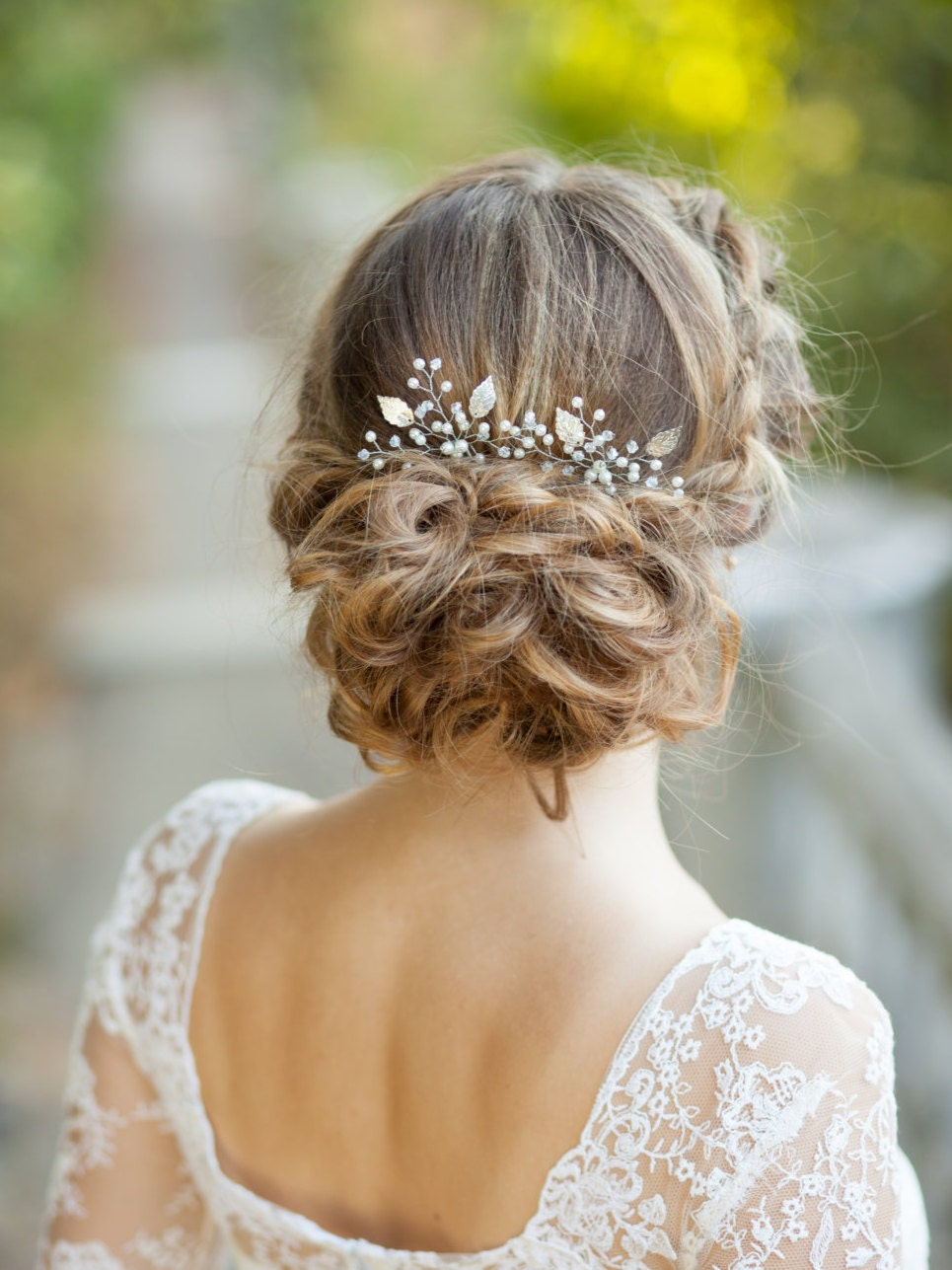 Bridal Hair With Pins : Bridal hair wedding set of two silver