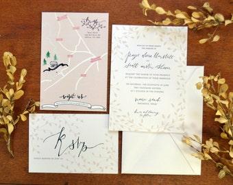 Neutral Greenery Border Wedding Invitation