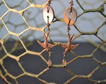 Button Jay, steampunk, metal, silver, gold, bird, matte, wired, drop earrings