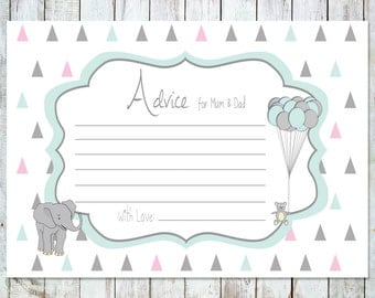 Advice for parents - printable baby shower, pastel triangles, elephant, bear