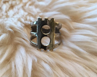Sterling Silver Cutout Ring, Geometric Ring