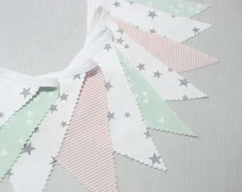 Mint & Gray, Pink, Fabric Bunting, Flag Banner, Baby Shower Decoration, Baby Bunting, Scandinavian Nursery, Minimalisme Home Decor