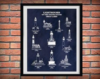 US Lighthouses of the Great Lakes - Art Print  - Nautical Art - Marina Art - Sailor Art - Split Rock - Toledo Harbor - Rock of Ages