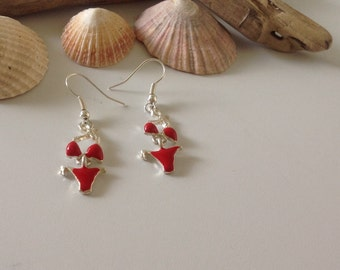 Australian Novelty Tropical Summer Red and Silver Beach Bikini Charm Earrings