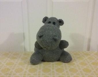Hand Knit Stuffed Hippo Animal