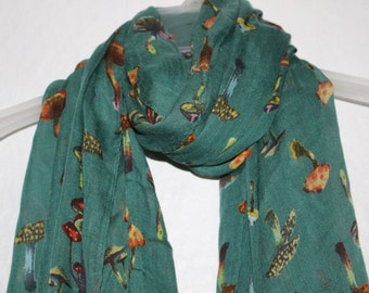 Mushroom Scarf, Green Mushroom Scarf, Scarves, Green Accessories, Green Scarves, Spring/Summer Accessories, Holiday Gift, Mother's Day,