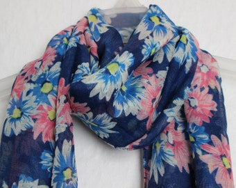 Daisy  Scarf, Navy Blue Floral Scarf, Spring Summer Scarves, Flower Pattern, Womens Gift, Casual Formal Autumn Wear, Nature Accessories