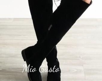 CARLA Black Suede Knee High Flat Boots / Flats / Flat Boots / Knee High Boots / Boots