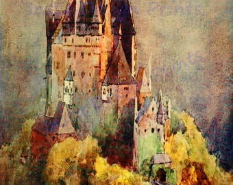 "Watercolor ""Castle on a Hill"" 1915 Print 8 1/2 x 11 Digital Download Printable Art Commercial Use Scrapbooking Printables"