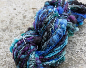 Handspun Super Bulky Art Yarn - Serene Dream - Coils, Stacks, Corespun Merino, BFL