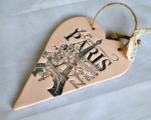 Paris theme bedroom decor, I love Paris in the spring time, French chic hanging heart plaque, Eiffel tower decor, Paris lover gift