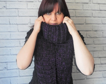 Extra Long drop stitch scarf, Hand knitted, Gothic Punk scarf, Black purple sparkle, Grunge scarf, Alternative Fashion knit, boho style