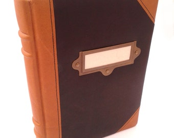 "Leather book/journal ""Contrast"" vintage, handmade, Marble paper, tassel"