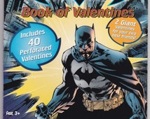 Batman Book of Valentines 40 Perforated Cards With Happy Valentine's Day on Back Scrapbooking Craft Altered Art Supplies Postcard Ephemera