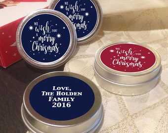 12 Personalized Christmas Mint Tin Favors - We wish you a merry christmas - Christmas Decor  - Christmas Gift Ideas - Stocking Stuffers