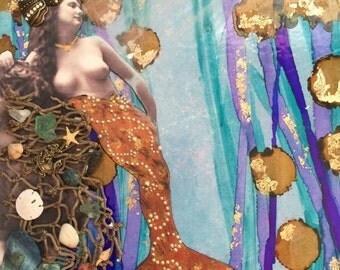 Mermaid Tail, Little Mermaid, Beach Decor, Wall Decor, Mixed Media, Print