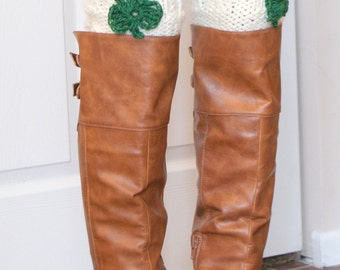 St. Patrick's Day Boot Cuffs, Shamrock St. Patrick's Day Outfit for Women, Boot Cuff Socks, Knitted Boot Toppers [SHAMROCK BOOT CUFF]