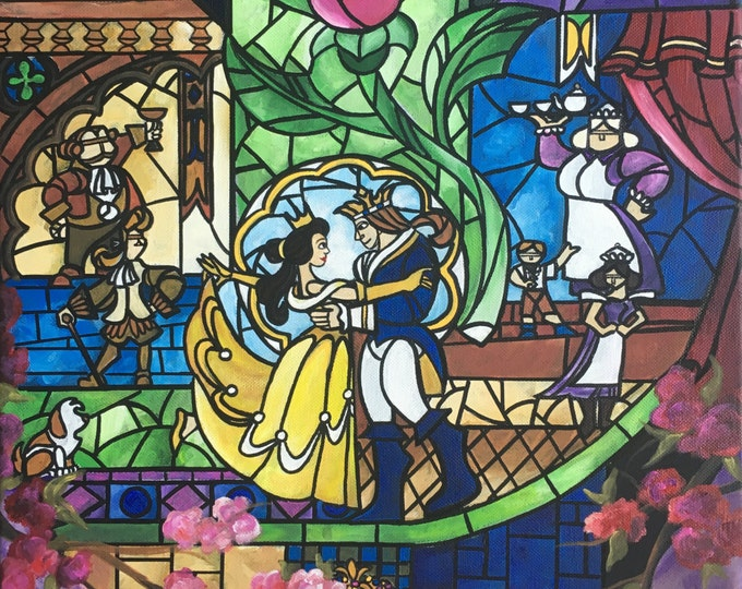 hand painted beauty and the beast stained glass soles