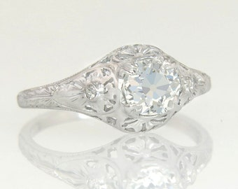 Antique Vintage Estate 18K White Gold .62ct Genuine Diamond Engagement Ring 2.4g