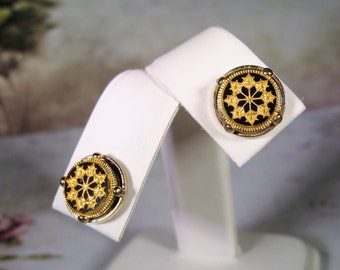 1960s, Damascene Earrings, Post Earrings, Pierced Earrings, Round Earrings, Stud Earrings, Black Gold Earrings, Gold Flower Earrings