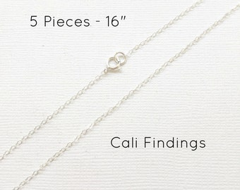"5pc- 16"" Sterling Silver Chain Finished, Finished Necklace, Flat Cable Chain, 1.3mm, 5 Pieces, Silver Chain, Bulk Chain, 16 inch [4050]"